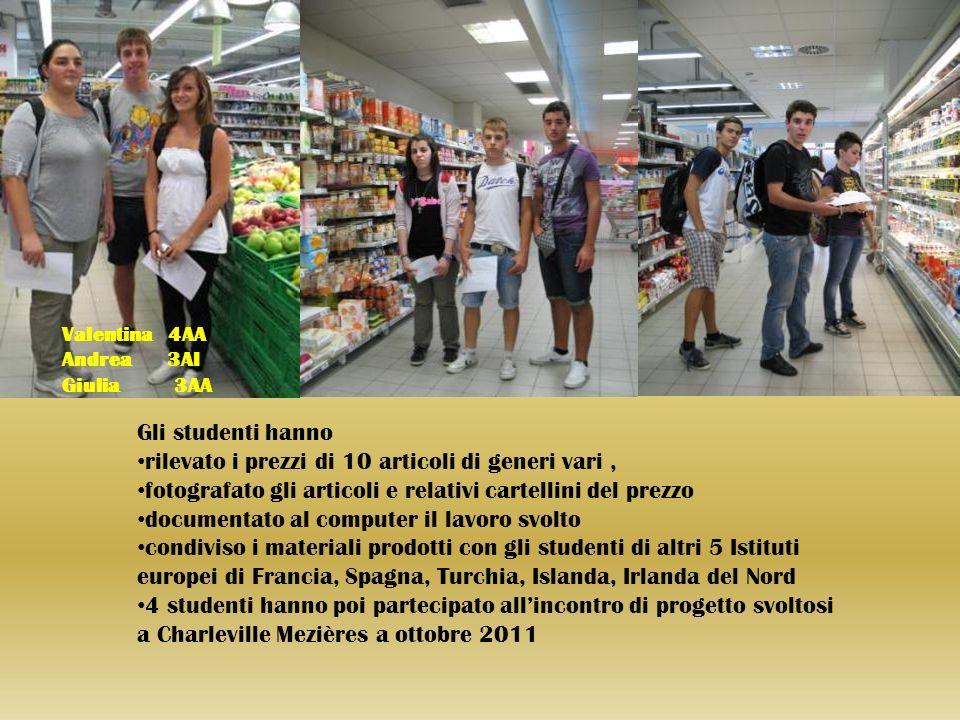 Gli studenti hanno rilevato i prezzi di 10 articoli di generi vari, fotografato gli articoli e relativi cartellini del prezzo documentato al computer