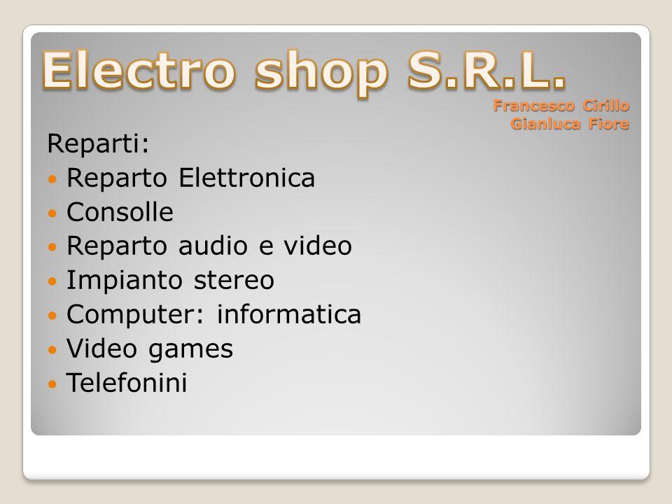 Francesco Cirillo Gianluca Fiore Reparti: Reparto Elettronica Consolle Reparto audio e video Impianto stereo Computer: informatica Video games Telefonini