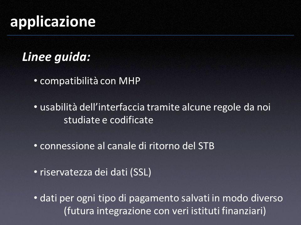 applicazione Linee guida: compatibilità con MHP usabilità dellinterfaccia tramite alcune regole da noi studiate e codificate connessione al canale di
