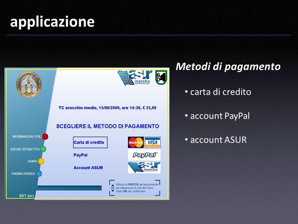 applicazione Metodi di pagamento carta di credito account PayPal account ASUR