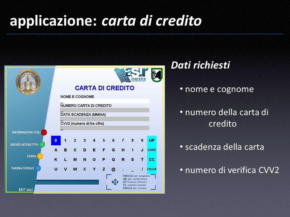 applicazione: carta di credito nome e cognome numero della carta di credito scadenza della carta numero di verifica CVV2 Dati richiesti