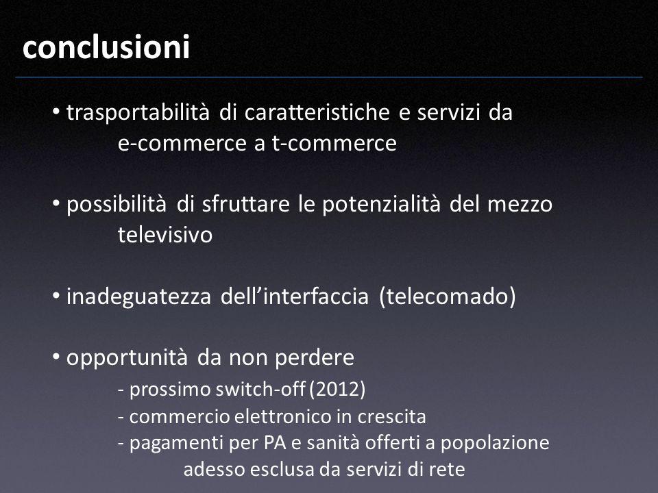 conclusioni trasportabilità di caratteristiche e servizi da e-commerce a t-commerce possibilità di sfruttare le potenzialità del mezzo televisivo inad