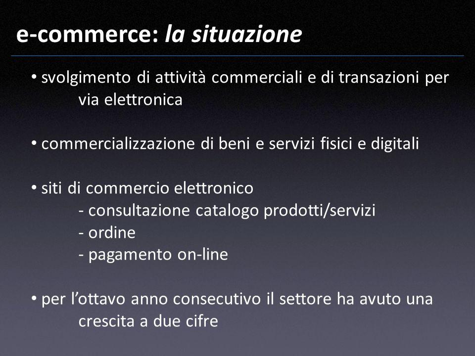 e-commerce: la situazione svolgimento di attività commerciali e di transazioni per via elettronica commercializzazione di beni e servizi fisici e digi