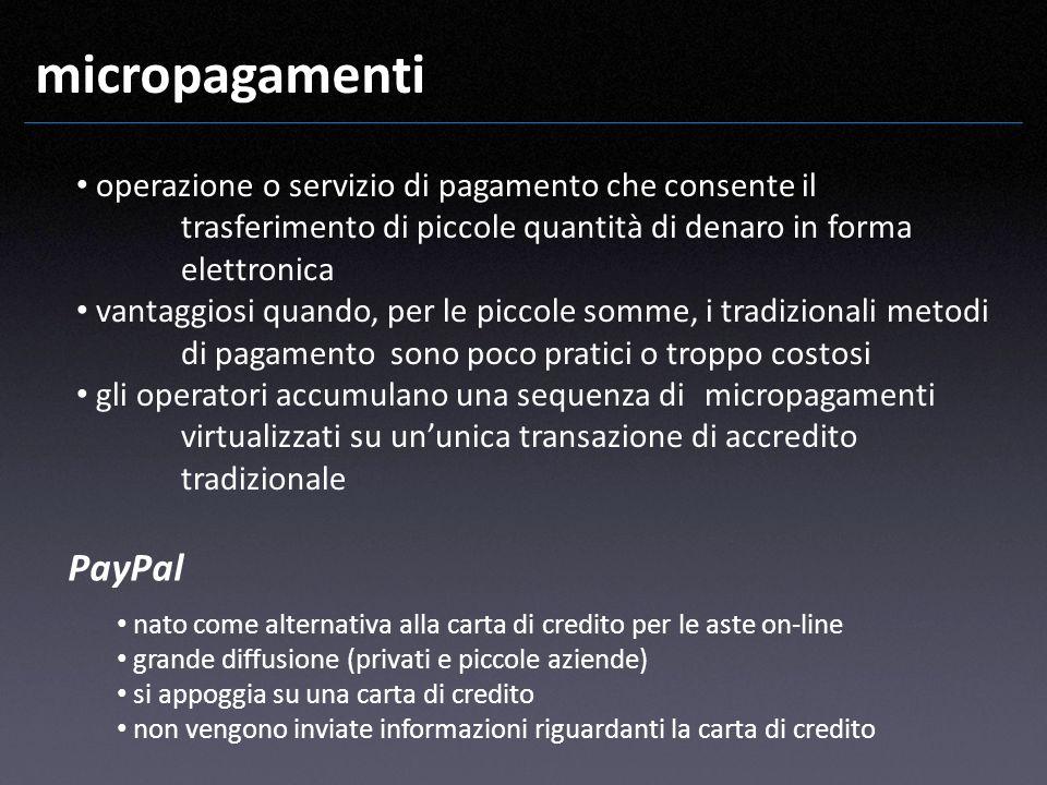 micropagamenti PayPal nato come alternativa alla carta di credito per le aste on-line grande diffusione (privati e piccole aziende) si appoggia su una