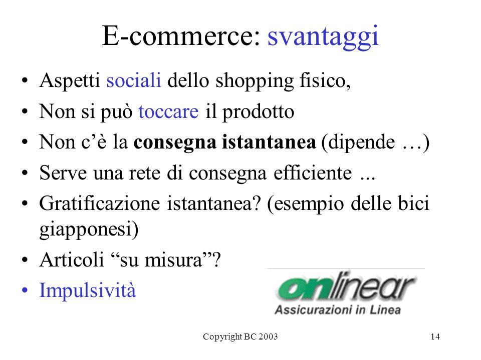 Copyright BC 200314 E-commerce: svantaggi Aspetti sociali dello shopping fisico, Non si può toccare il prodotto Non cè la consegna istantanea (dipende …) Serve una rete di consegna efficiente...