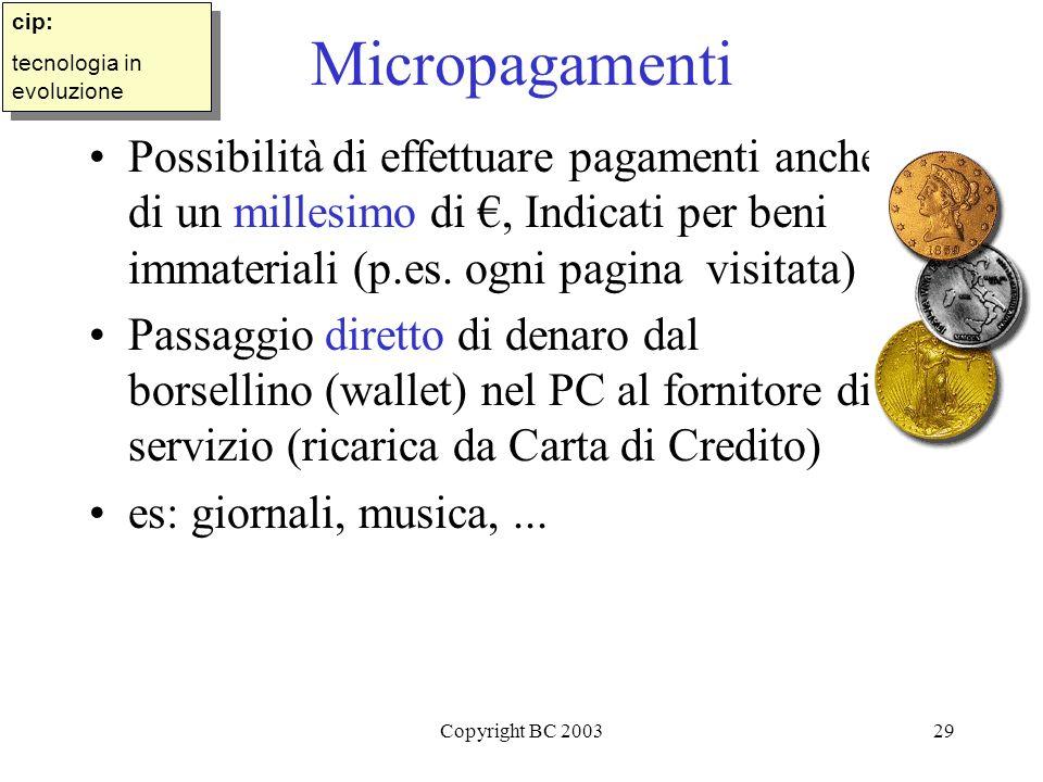 Copyright BC 200329 Micropagamenti Possibilità di effettuare pagamenti anche di un millesimo di, Indicati per beni immateriali (p.es.