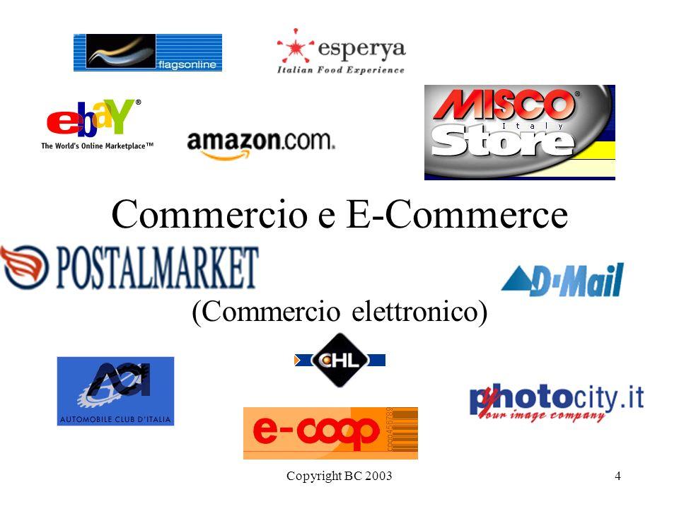 Copyright BC 200315 Attori in Italia e allestero Amazon.com (web) Dell (telefono poi web) CHL ACI, Genertel, Directline Aste online (ebay) Esperya.com Ducati Ferrovie Fiat...