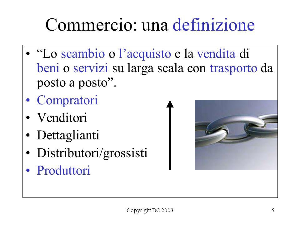 Copyright BC 20035 Commercio: una definizione Lo scambio o lacquisto e la vendita di beni o servizi su larga scala con trasporto da posto a posto.