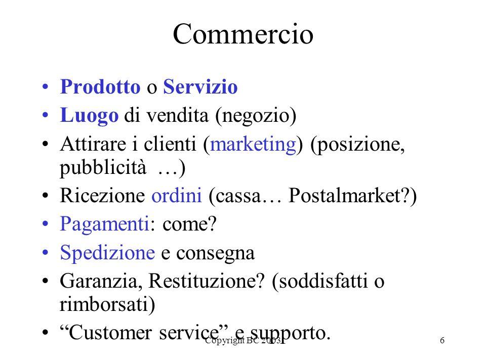 Copyright BC 200317 E-commerce: elementi Il prodotto/servizio Il sito web La consegna e il pagamento postvendita