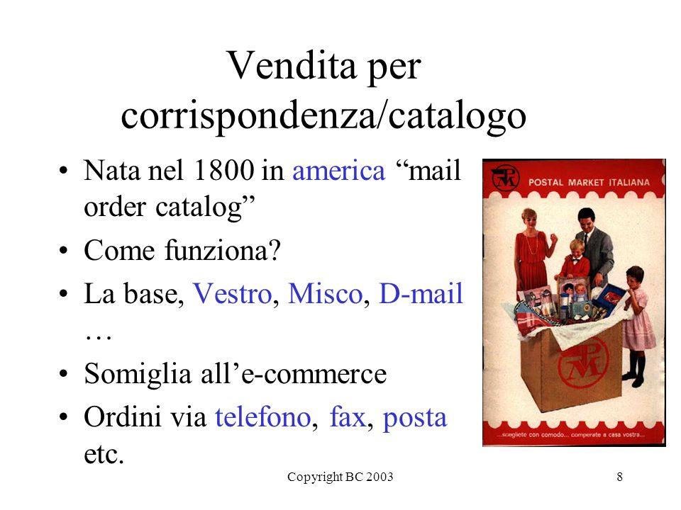Copyright BC 20038 Vendita per corrispondenza/catalogo Nata nel 1800 in america mail order catalog Come funziona.