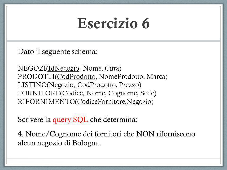 Esercizio 6 Dato il seguente schema: NEGOZI(IdNegozio, Nome, Citta) PRODOTTI(CodProdotto, NomeProdotto, Marca) LISTINO(Negozio, CodProdotto, Prezzo) F