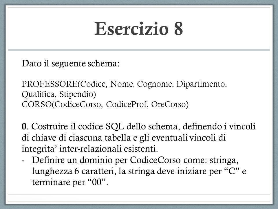 Esercizio 8 Dato il seguente schema: PROFESSORE(Codice, Nome, Cognome, Dipartimento, Qualifica, Stipendio) CORSO(CodiceCorso, CodiceProf, OreCorso) 0.