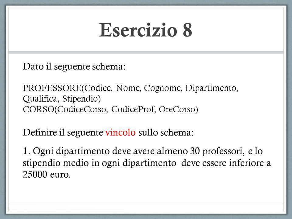 Esercizio 8 Dato il seguente schema: PROFESSORE(Codice, Nome, Cognome, Dipartimento, Qualifica, Stipendio) CORSO(CodiceCorso, CodiceProf, OreCorso) De