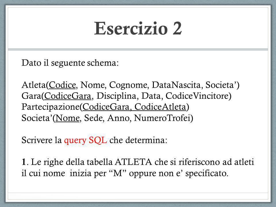 Esercizio 2 Dato il seguente schema: Atleta(Codice, Nome, Cognome, DataNascita, Societa) Gara(CodiceGara, Disciplina, Data, CodiceVincitore) Partecipa