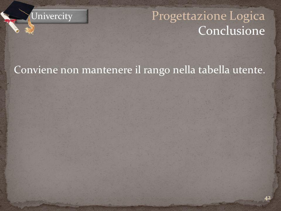 42 Univercity Progettazione Logica Conclusione Conviene non mantenere il rango nella tabella utente.