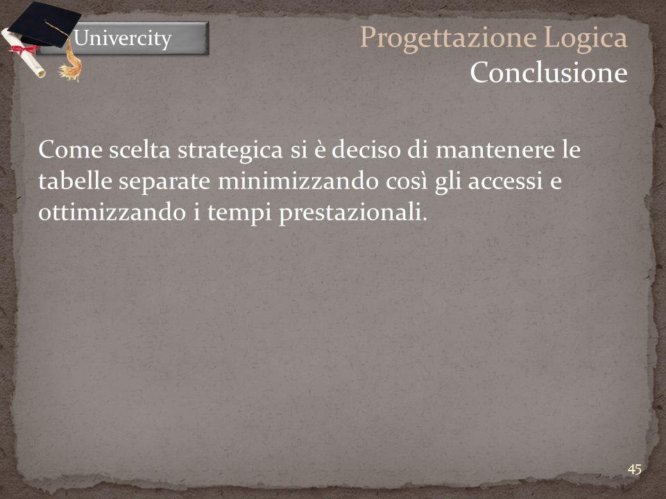 45 Univercity Progettazione Logica Conclusione Come scelta strategica si è deciso di mantenere le tabelle separate minimizzando così gli accessi e ottimizzando i tempi prestazionali.