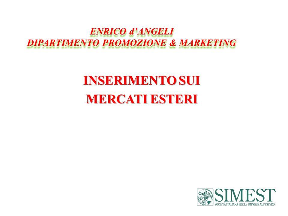 INSERIMENTO SUI MERCATI ESTERI ENRICO dANGELI DIPARTIMENTO PROMOZIONE & MARKETING ENRICO dANGELI DIPARTIMENTO PROMOZIONE & MARKETING