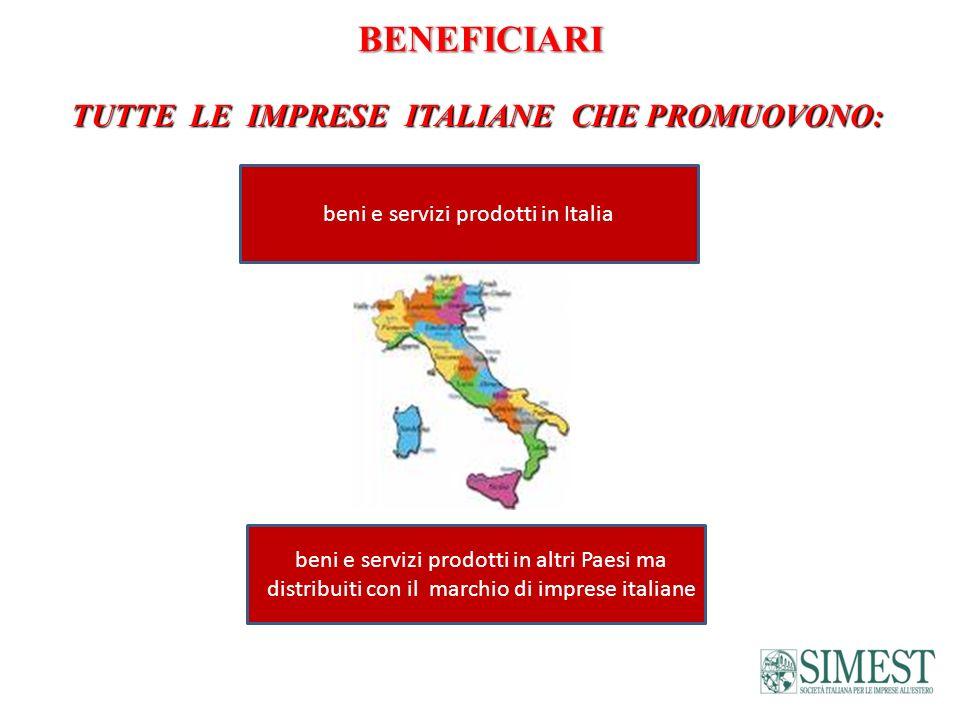 BENEFICIARI TUTTE LE IMPRESE ITALIANE CHE PROMUOVONO: beni e servizi prodotti in Italia beni e servizi prodotti in altri Paesi ma distribuiti con il m