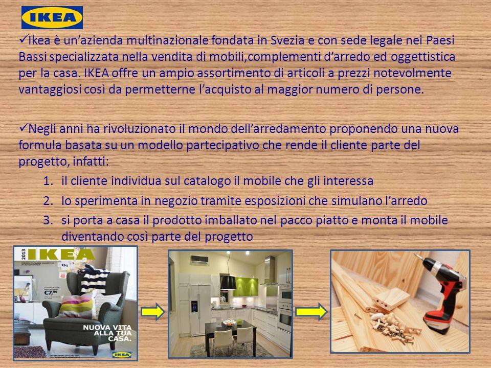 Ikea è unazienda multinazionale fondata in Svezia e con sede legale nei Paesi Bassi specializzata nella vendita di mobili,complementi darredo ed ogget
