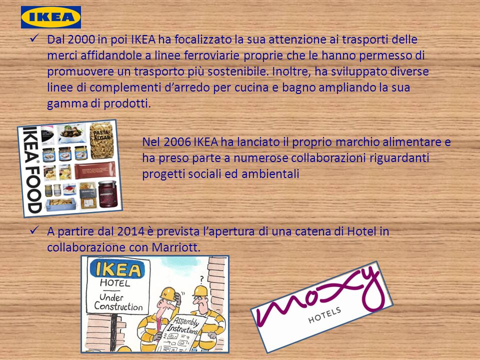Strategia di integrazione Ikea Industry Group Produttrice di componenti in legno e della maggior parte dei mobili IKEA, opera in 10 paesi nel mondo Produttrice di componenti in legno, soprattutto pannelli ultraleggeri derivanti da processi produttivi rispettosi dellambiente