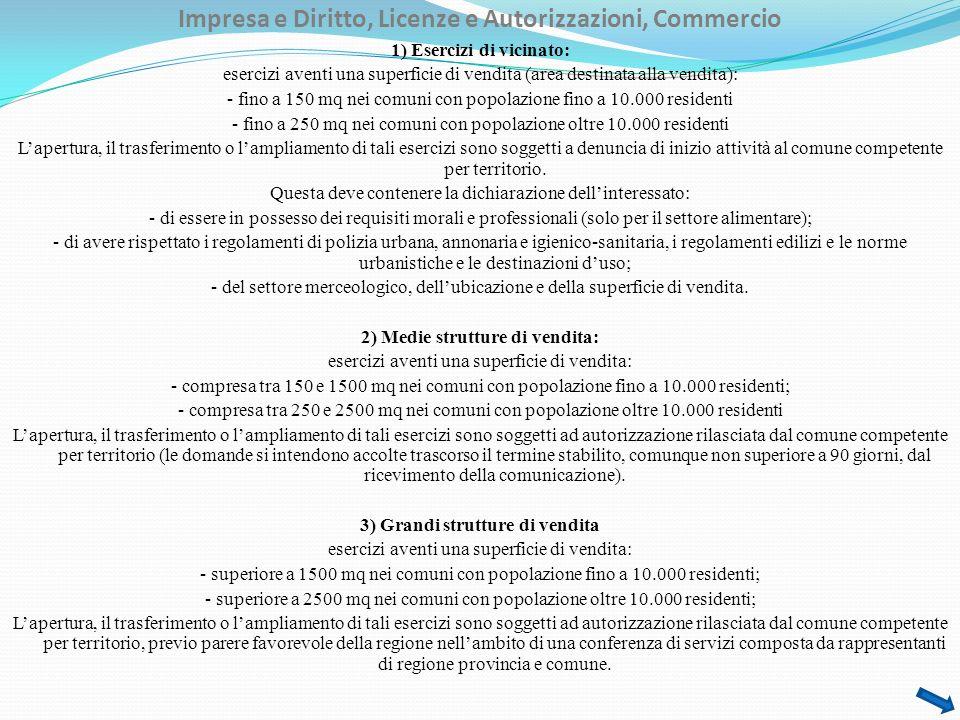 Impresa e Diritto, Licenze e Autorizzazioni, Commercio 1) Esercizi di vicinato: esercizi aventi una superficie di vendita (area destinata alla vendita