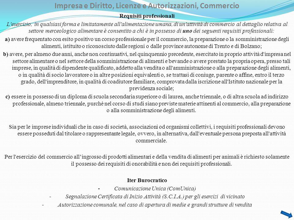 Impresa e Diritto, Licenze e Autorizzazioni, Commercio Requisiti professionali L'esercizio, in qualsiasi forma e limitatamente all'alimentazione umana