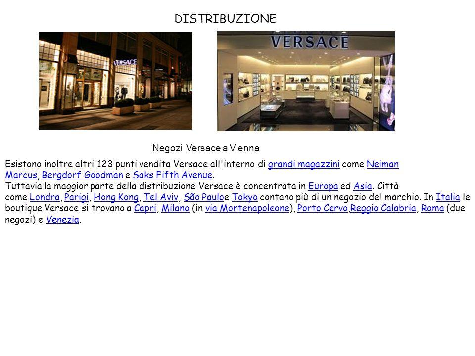 DISTRIBUZIONE Esistono inoltre altri 123 punti vendita Versace all'interno di grandi magazzini come Neiman Marcus, Bergdorf Goodman e Saks Fifth Avenu