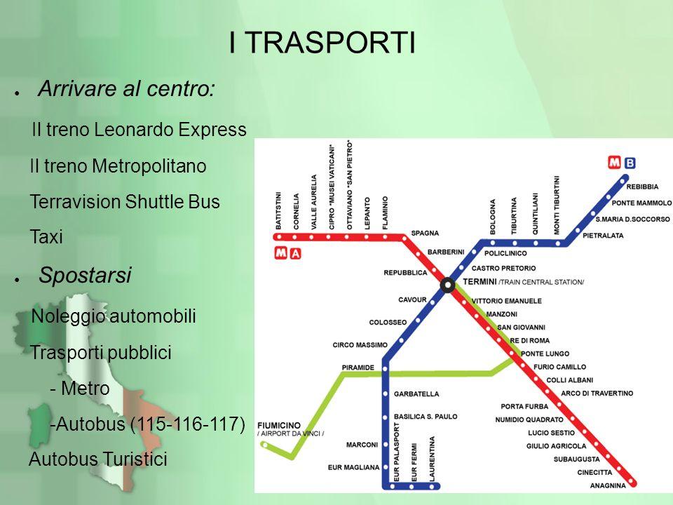 I TRASPORTI Arrivare al centro: Il treno Leonardo Express Il treno Metropolitano Terravision Shuttle Bus Taxi Spostarsi Noleggio automobili Trasporti