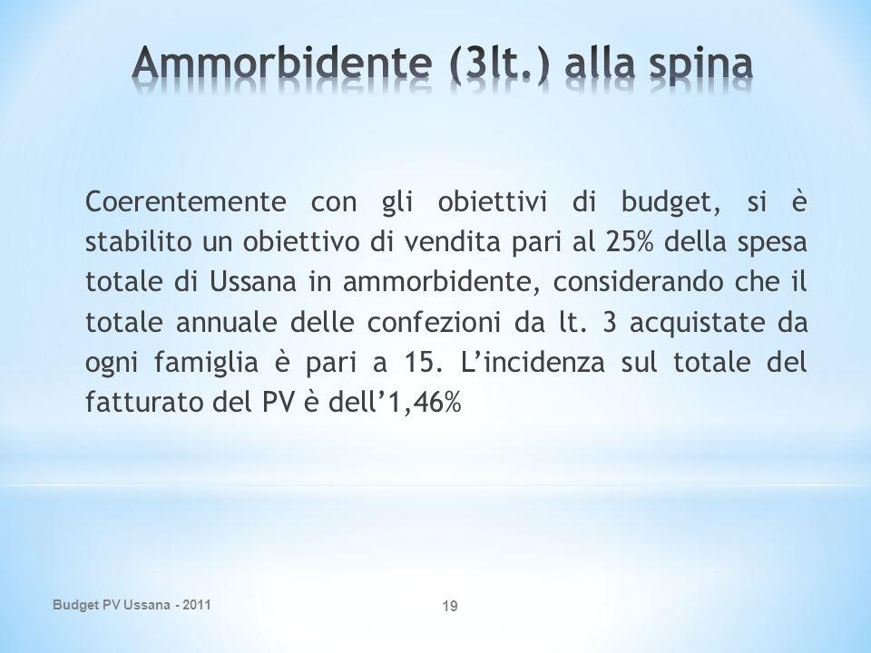 Budget PV Ussana - 2011 19 Coerentemente con gli obiettivi di budget, si è stabilito un obiettivo di vendita pari al 25% della spesa totale di Ussana in ammorbidente, considerando che il totale annuale delle confezioni da lt.