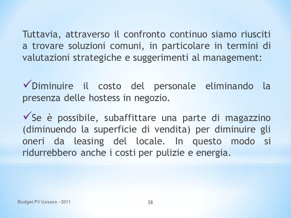 Budget PV Ussana - 2011 38 Tuttavia, attraverso il confronto continuo siamo riusciti a trovare soluzioni comuni, in particolare in termini di valutazioni strategiche e suggerimenti al management: Diminuire il costo del personale eliminando la presenza delle hostess in negozio.