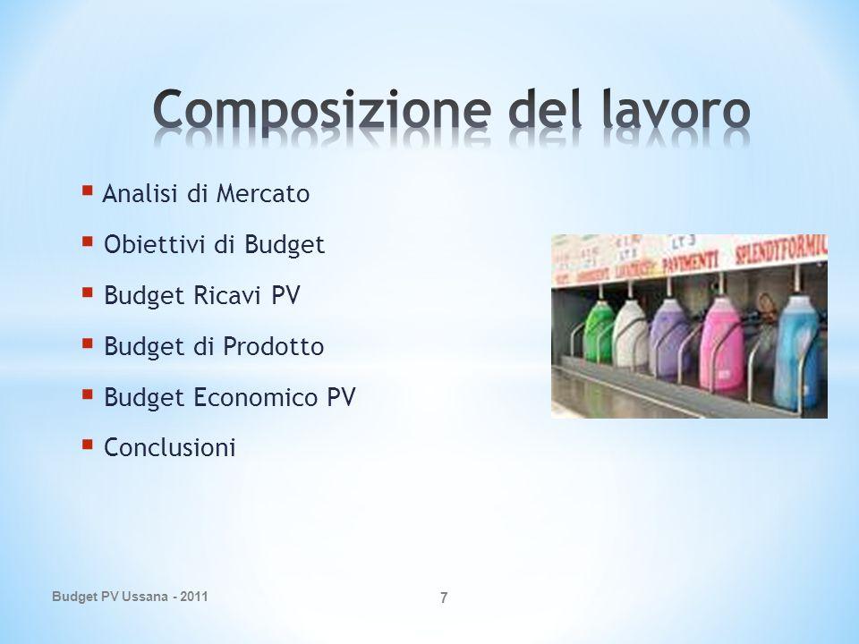 Analisi di Mercato Obiettivi di Budget Budget Ricavi PV Budget di Prodotto Budget Economico PV Conclusioni Budget PV Ussana - 2011 7