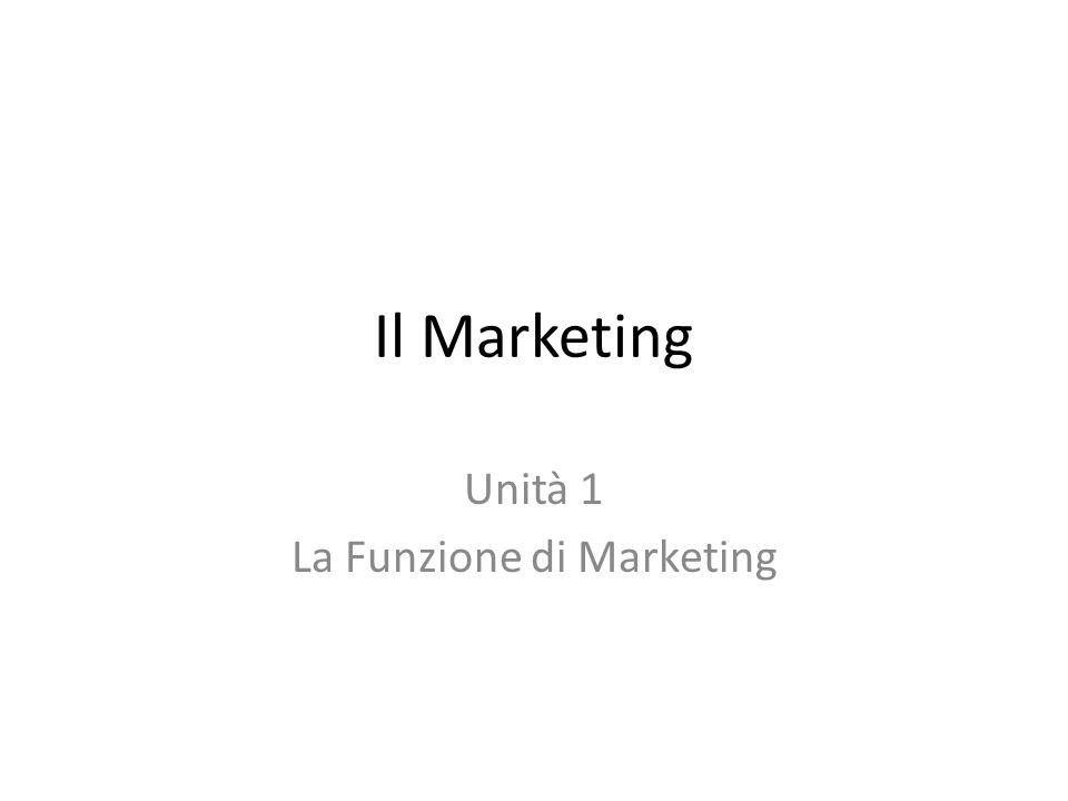 Il Marketing Unità 1 La Funzione di Marketing