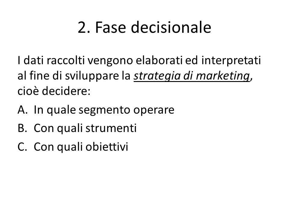 2. Fase decisionale I dati raccolti vengono elaborati ed interpretati al fine di sviluppare la strategia di marketing, cioè decidere: A.In quale segme