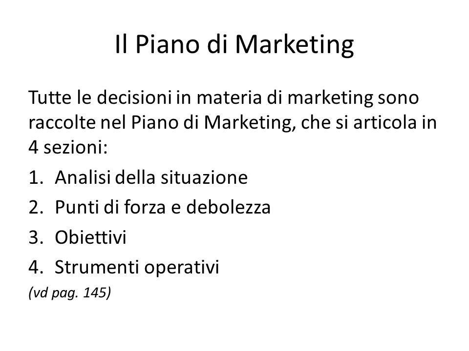 Il Piano di Marketing Tutte le decisioni in materia di marketing sono raccolte nel Piano di Marketing, che si articola in 4 sezioni: 1.Analisi della situazione 2.Punti di forza e debolezza 3.Obiettivi 4.Strumenti operativi (vd pag.