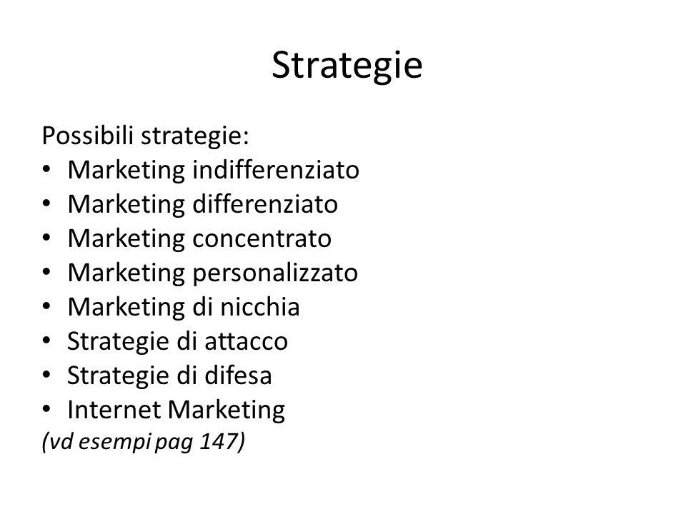 Strategie Possibili strategie: Marketing indifferenziato Marketing differenziato Marketing concentrato Marketing personalizzato Marketing di nicchia Strategie di attacco Strategie di difesa Internet Marketing (vd esempi pag 147)