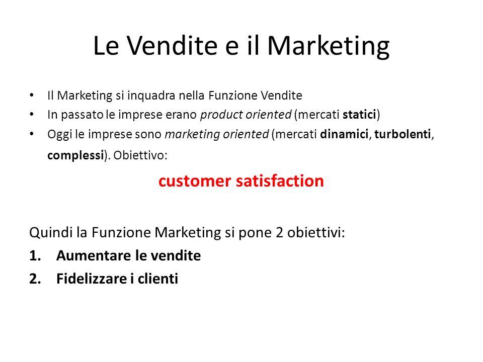 Le Vendite e il Marketing Il Marketing si inquadra nella Funzione Vendite In passato le imprese erano product oriented (mercati statici) Oggi le imprese sono marketing oriented (mercati dinamici, turbolenti, complessi).
