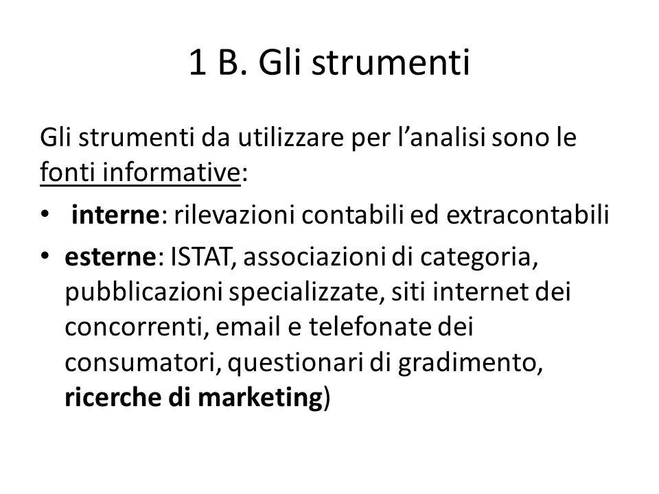 1 B. Gli strumenti Gli strumenti da utilizzare per lanalisi sono le fonti informative: interne: rilevazioni contabili ed extracontabili esterne: ISTAT