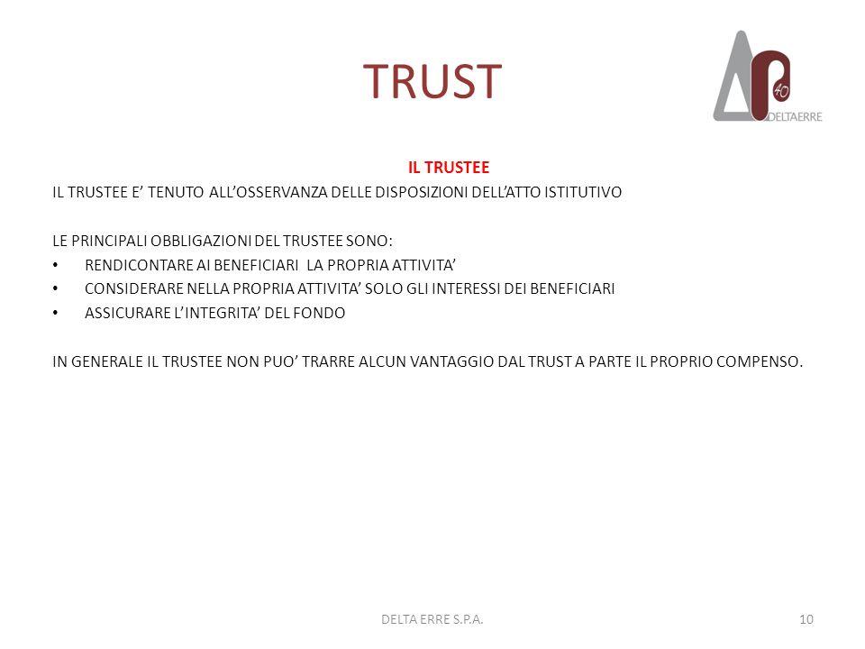 TRUST IL TRUSTEE IL TRUSTEE E TENUTO ALLOSSERVANZA DELLE DISPOSIZIONI DELLATTO ISTITUTIVO LE PRINCIPALI OBBLIGAZIONI DEL TRUSTEE SONO: RENDICONTARE AI