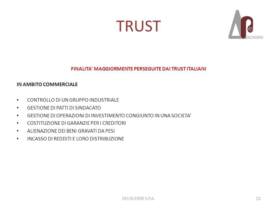 TRUST FINALITA MAGGIORMENTE PERSEGUITE DAI TRUST ITALIANI IN AMBITO COMMERCIALE CONTROLLO DI UN GRUPPO INDUSTRIALE GESTIONE DI PATTI DI SINDACATO GEST