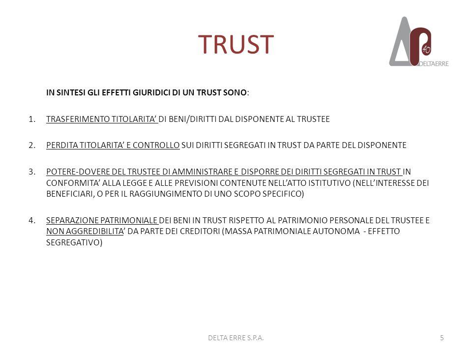 TRUST IN SINTESI GLI EFFETTI GIURIDICI DI UN TRUST SONO: 1.TRASFERIMENTO TITOLARITA DI BENI/DIRITTI DAL DISPONENTE AL TRUSTEE 2.PERDITA TITOLARITA E C