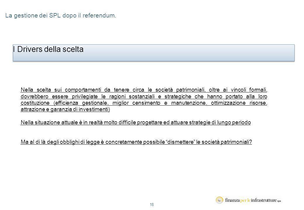 18 La gestione dei SPL dopo il referendum.