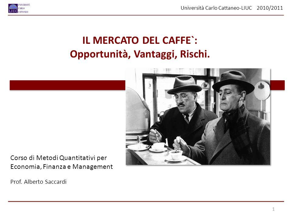 Università Carlo Cattaneo-LIUC 2010/2011 Analizzando i dati risulta evidente che un numero elevatissimo di clienti acquista il caffè al SUPERMERCATO: 159 persone su 208, una frequenza relativa del 76.44 %.