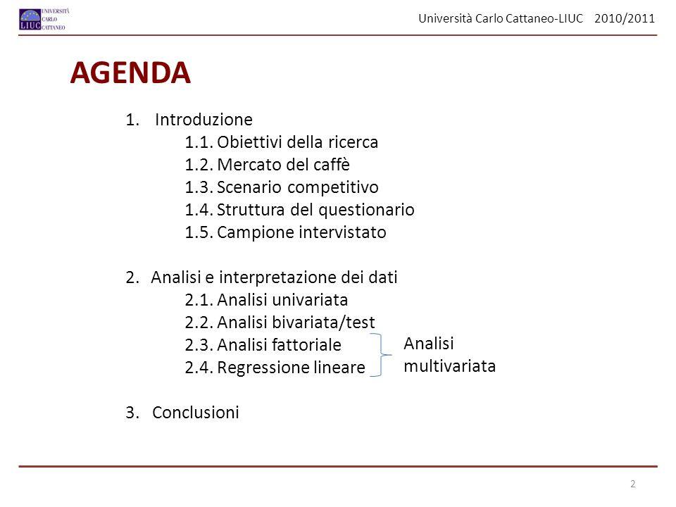 Università Carlo Cattaneo-LIUC 2010/2011 13 QuantileValore 100% Max83 99%76 95%64 90%60 75% Q350 50% Mediana37.5 25% Q126 10%22 5%21 1%18 0% Min18 Si ha un campo di variazione di 65, quindi un elevata differenza tra il valore massimo di età rilevata (83) e il valore minimo (18).