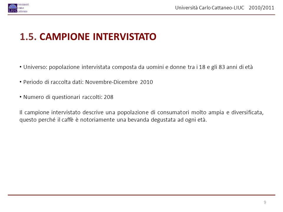 Università Carlo Cattaneo-LIUC 2010/2011 Distributore MOMENTS N208SUM WEIGHTS208 MEAN0.401SUM OBSERVATIONS83.55 STD DEVIATION0.191VARIANCE0.036 SKEWNESS3.381KURTOSIS23.398 UNCORRECTED SS41.187CORRECTED SS7.626 COEFF VARIATION47.786STD ERROR MEAN0.013 QUANTILES QUANTILEESTIMATE 100% Max2 99%1 95%0.7 90%0.5 75% Q30.5 50% Median0.35 25% Q10.3 10%0.25 5%0.2 1%0.1 0% Min0 La spesa media al distributore automatico è risultata essere di 0.40 euro, col valore più frequente di 30 cent.