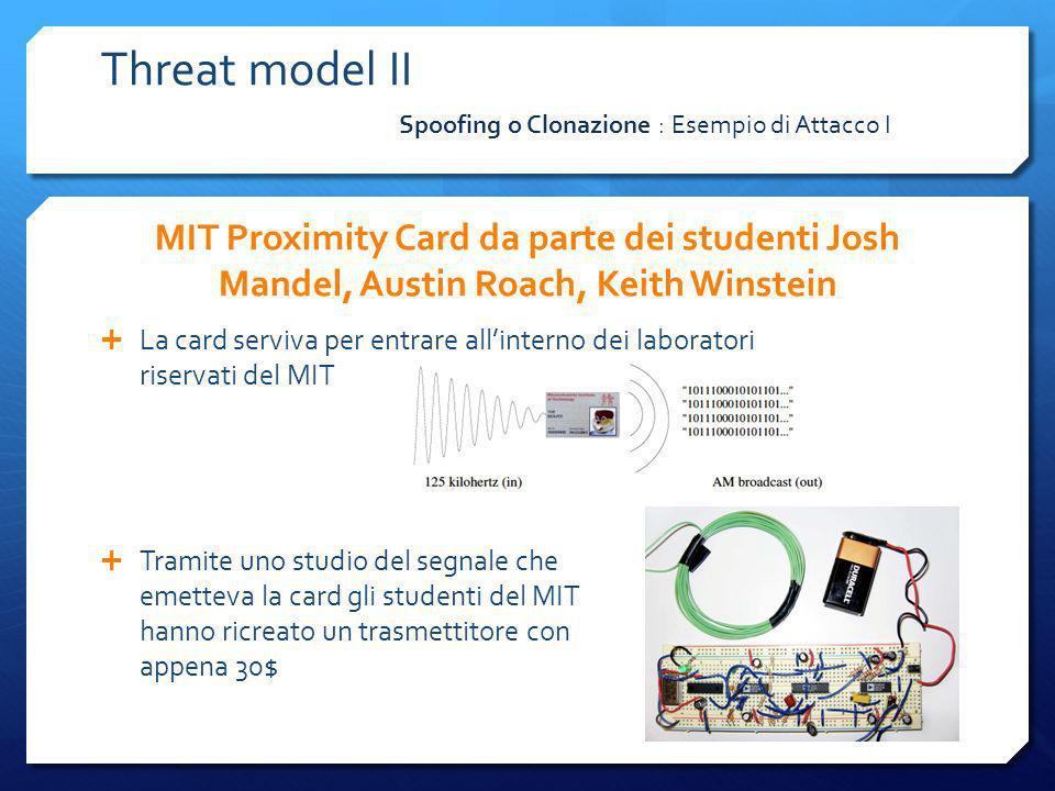 MIT Proximity Card da parte dei studenti Josh Mandel, Austin Roach, Keith Winstein La card serviva per entrare allinterno dei laboratori riservati del