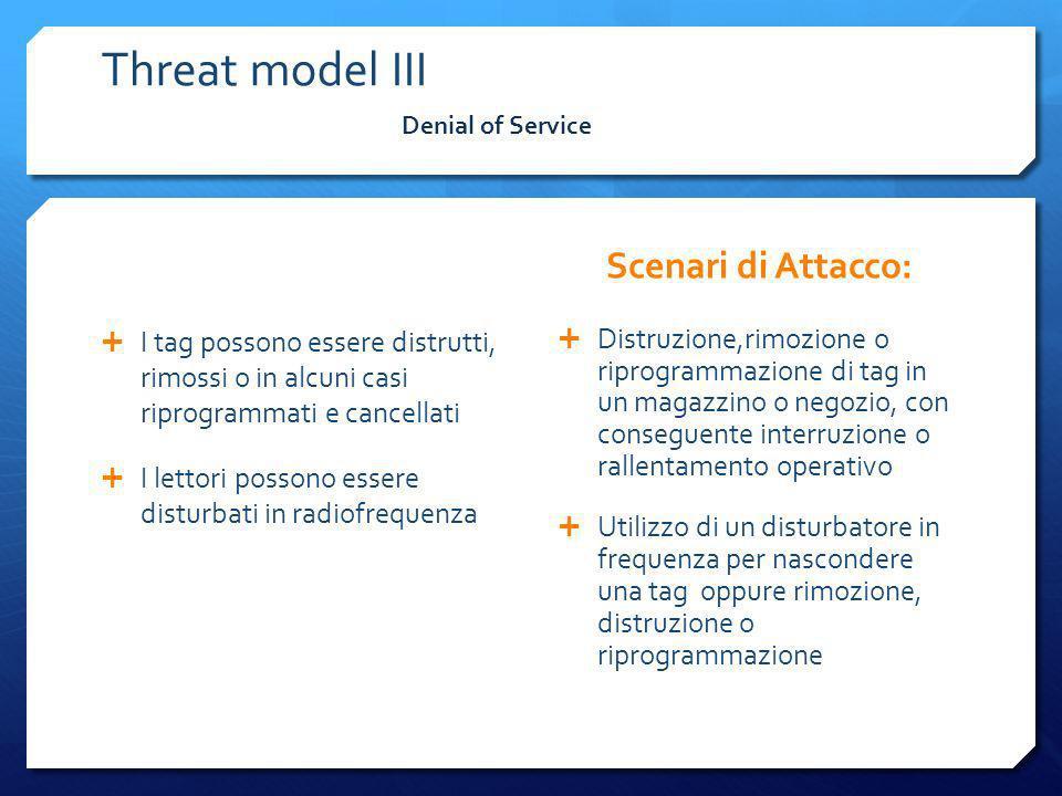 Denial of Service Threat model III I tag possono essere distrutti, rimossi o in alcuni casi riprogrammati e cancellati I lettori possono essere distur