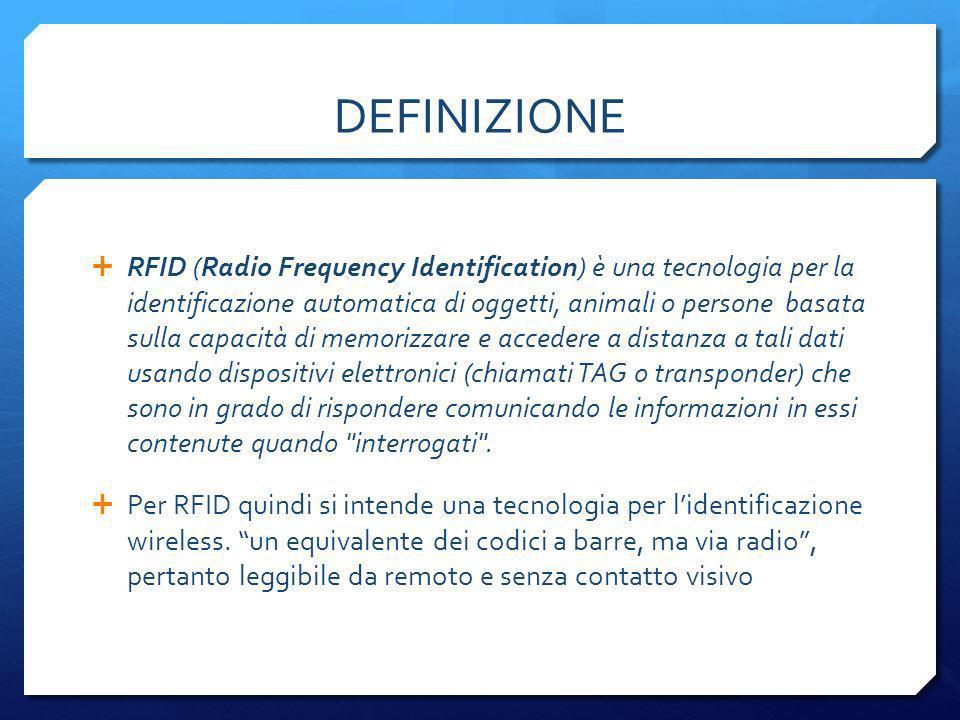 Un Sistema RFID è formato da un Lettore e un Tag Un tag RFID (detto anche transponder) e un microchip che contiene dati + un numero univoco universale e grazie ad un antenna integrata può ricevere e trasmettere radiofrequenza ad un tranreceiver RFID.