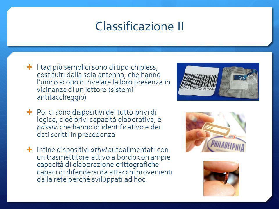 Classificazione II I tag più semplici sono di tipo chipless, costituiti dalla sola antenna, che hanno lunico scopo di rivelare la loro presenza in vic