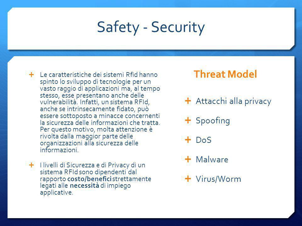 Safety - Security Le caratteristiche dei sistemi Rfid hanno spinto lo sviluppo di tecnologie per un vasto raggio di applicazioni ma, al tempo stesso,