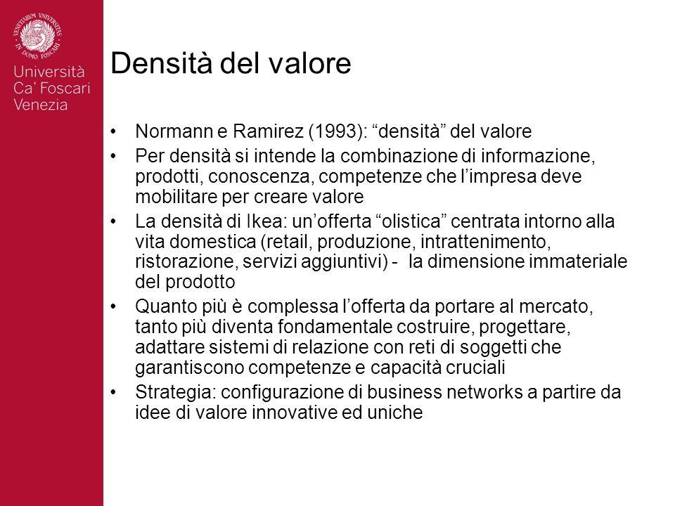 Densità del valore Normann e Ramirez (1993): densità del valore Per densità si intende la combinazione di informazione, prodotti, conoscenza, competen